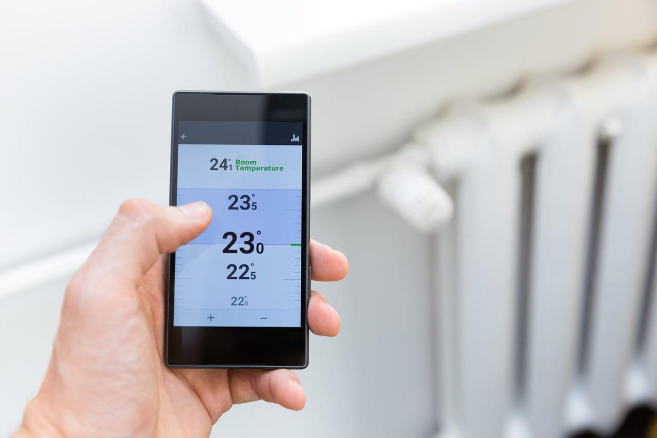 Radiator with smart phone heating controls